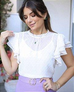 Blusa Chiffon Poá + Regata - Denise