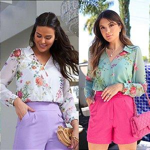 Blusa Floral Transpassada + Regata
