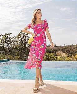 Vestido Midi Floral Lastex