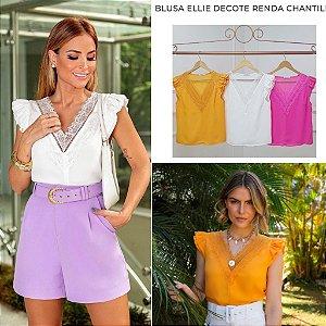 Blusa Decote Renda Chantilly - Ellie