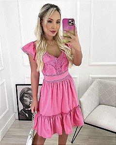 Vestido Tricoline Renda Rosa