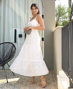 Vestido Midi de Renda Branca