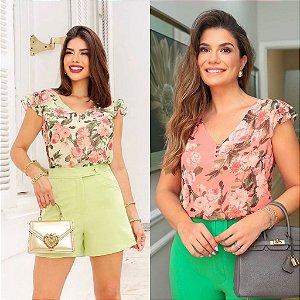 Blusa Floral Decote V Doce Flor