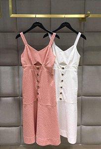 Vestido Laise Recortes ( Off e Rosê)