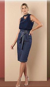 Saia Midi Jeans Pesponto (2% elastano)