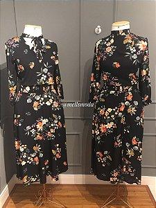 Vestido Viscose com Cinto - Dark Floral