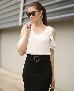 Blusa Ombro Vazado Decote V (CORES)