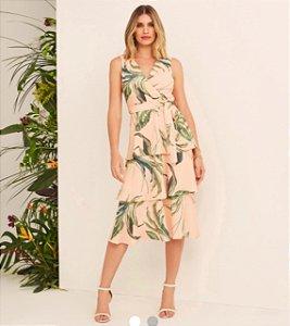 Vestido Babados Flower Print