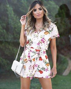 Blusa Crepe Floral - Eugênia (AMARELO E ROSA)