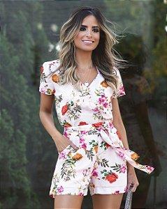 Shorts  Crepe Floral - Eugênia (AMARELO E ROSA)