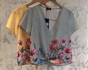 Blusa Amarração Floral Barrado  ( Mint e Mostarda)