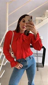 Camisa Crepe Plissada - Suellen (OFF e VERMELHO)
