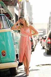 Vestido Transpasse Linho - Stripes