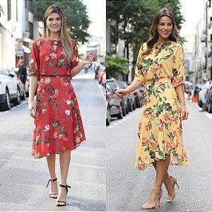 Blusa Floral Decote Argola (Vermelho e Amarelo)