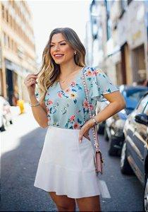 Blusa Floral - Nicole (Bege Rosado e Azul)