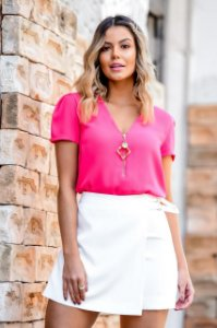 Blusa Crepe Suzana (Pink, Branco e Preto)