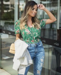 Blusa Crepe Floral - Sophia