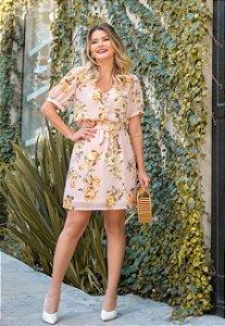 Vestido Floral com Cinto - Renata