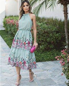 Vestido Midi Floral Barrado (Mint e Bege)