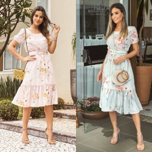 Vestido Floral Cinto (Mint e Rosê)