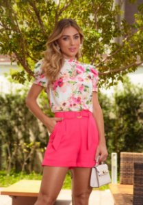Blusa Crepe Flowers Pink