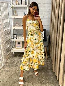 Vestido Floral (Amarelo e Rosa)
