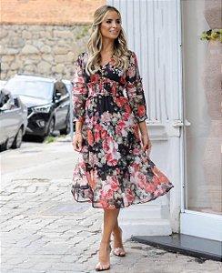 Vestido Floral Aline (Preto e Rosê)