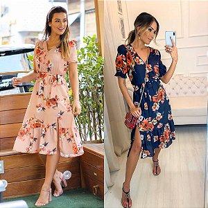 Vestido Midi Floral - Selena (Preto e Rosê)
