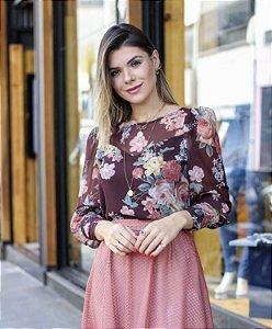 Blusa Floral - Amanda (Marrom)