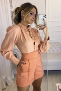 Camisa Crepe Renda - Carmen