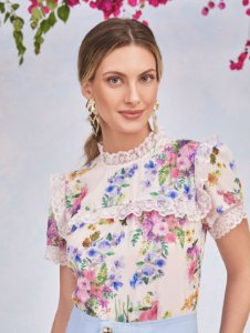 Blusa Floral Renda - Cecília