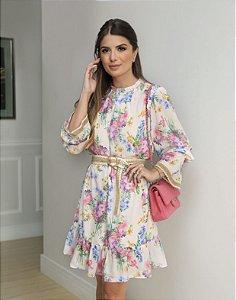 Vestido Floral com Cinto - Juliana