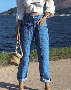 Calça Jeans Cropped Recortes