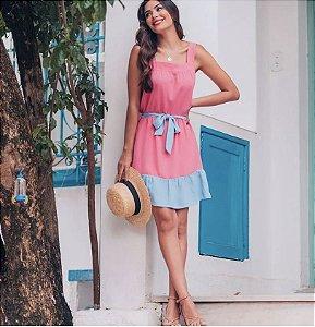 Vestido Crepe Bicolor - Vânia