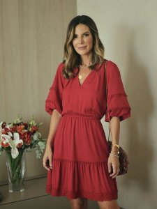 Vestido Carolina ( cor Framboesa)
