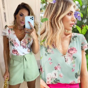 Blusa Floral Decote V ( off white e verde)