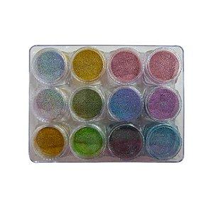 Glitter 12 Cores de Efeito Espelho Super Fino Nail Art Chrome em Pó Decoração Holográfica - 3 Unidades