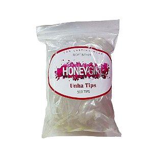 Tips Honey Girl Unha Sorriso Transparente com 500 Unidades Separados por Tamanho do 0 ao 9 - 3 Unidades