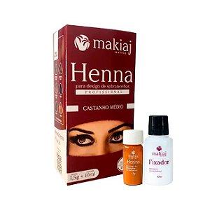 Henna Makiaj para Design Sobrancelha Castanho Médio 1,5g + 10ml - 3 Unidades