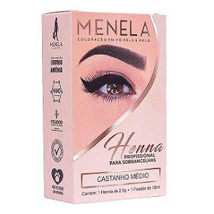 Henna para Sobrancelha Menela CASTANHO MÉDIO 2,5g - 3 Unidades
