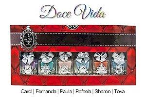 Coleção Esmaltes Diva Doce Vida  Kit com 6 Lindo Estojo.