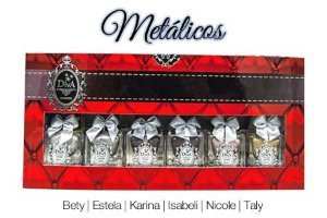 Coleção Esmaltes Diva Metálicos Kit com 6 Lindo Estojo.