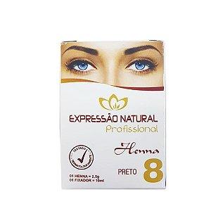 Henna Expressão Natural Preto Profissional + Fixador 2,5g - 3 Unidades