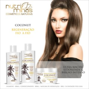Kit Nutriminas Coconut Shanpoo, condicionador e Mascara