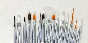kit pincel artistico para unhas com 15 pinceis - 3 unidades