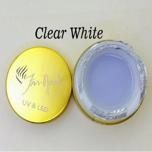 Gel fan nails Clear White - 3 unidades