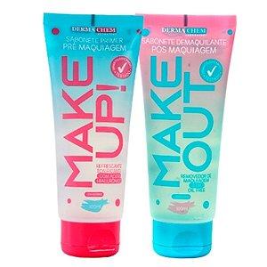 Sabonete Make Out Primer Pré Maquiagem + Make Up Demaquilante Pós Maquiagem Dermachem 3 de cada
