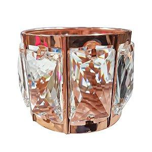 Porta Organizador Pincel Maquiagem Cristal Gold Rose Jóia Luxo - 3 Unidades