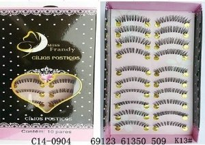 Cílios Postiços 10 pares Mis Frandy C14-0904 - Caixa com 3 unidades
