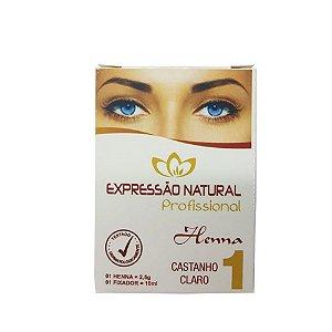 Henna Expressão Natural Castanho Claro Profissional + Fixador 2,5g - 3 Unidades